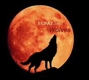 Alpha wolf howling at the blood red moon on ECPAZ.com